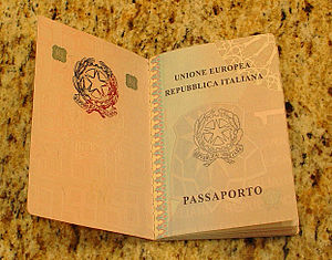 Italian passport - Inside cover of an Italian biometric passport issued in 2006