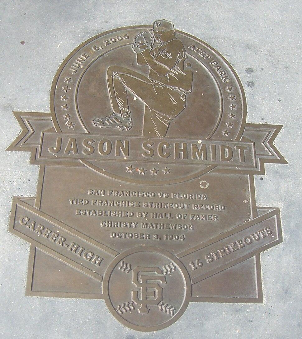 Jason Schmidt Plaque