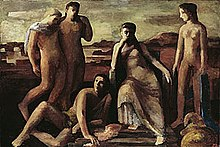 An oil painting of five figures in a landscape, three standing, one seated, and one reclining on the ground. They are painted in a slightly abstract manner rather than being realistic.