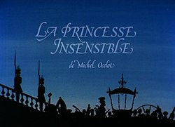 "The title card depicts, in backlit silhouette, the princess leaving her carriage and ascending the steps to the theatre, with, superimposed over the dusk sky above, the text ""La Princesse insensible de Michel Ocelot""."