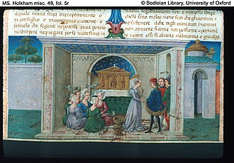 The Decameron - Miniature by Taddeo Crivelli in a manuscript of c. 1467 from Ferrara (Bodleian Library, Oxford)