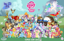 The Cast Of Friendship Is Magic Presented As A Poster At 2011 San Diego Comic Con Major Characters Include Mid Front Row Starting Sixth From Left