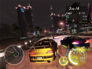 Need for Speed: Underground 2 - In-game Need for Speed: Underground 2 screenshot, in which races are roughly similar to that of Underground and still revolve around import culture.