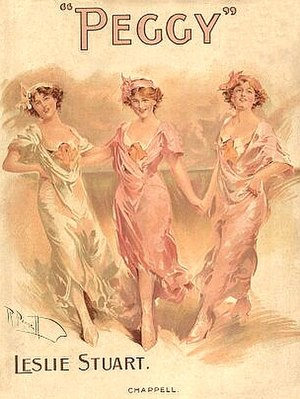 Leslie Stuart - Music cover showing Olive May, Phyllis Dare and Gabrielle Ray in Peggy, 1911