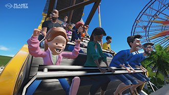 Planet Coaster - Promotional image of guests riding a pirate ship ride.