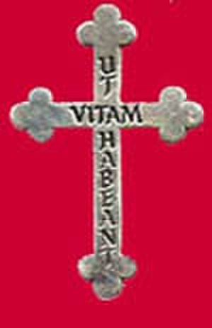 "Religious of the Sacred Heart of Mary - The RSHM symbol is the Cross worn by the sisters.  The words on the cross, Ut Vitam Habeant mean: ""That They May Have Life"" (Jn. 10:10)"