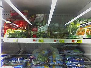 Frozen vegetables - Various frozen vegetables displayed on a Wal-Mart Supercentre shelf