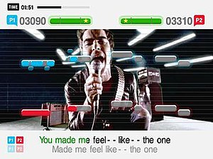 "SingStar - Screenshot from SingStar Rocks!, featuring the song ""Dakota"" by Stereophonics. Player 1 is shown in blue, while Player 2 is shown in red."