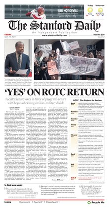 Front page of The Stanford Daily for April 29, 2011.