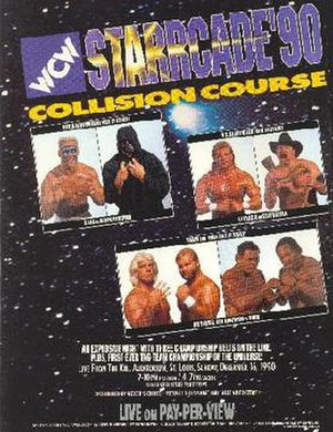 Starrcade (1990) - Promotional poster featuring Sting, The Black Scorpion, Lex Luger, Stan Hansen, Ric Flair, Arn Anderson, Butch Reed and Ron Simmons