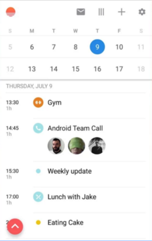 Sunrise Calendar - Image: Sunrise Calendar Android screenshot