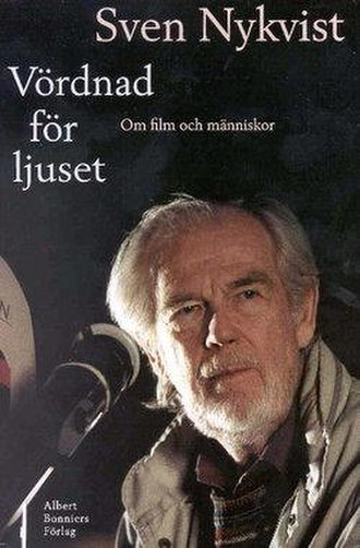 "Sven Nykvist - Sven Nykvist on the cover of his book Vördnad för ljuset (""Reverence for the light""). 1997."