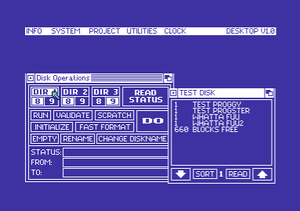 The Final Cartridge III - The disk utility of The Final Cartridge III GUI, showing a disk's directory