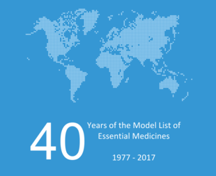 "World map with the words ""40 years of the model list of essential medicines 1977-2017"""