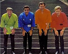 A picture of the Ventures wearing kimonos during a publicity shoot in Japan.