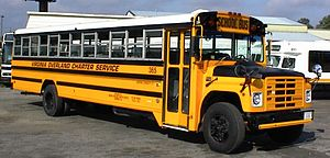 School bus contractor - A 1988 Navistar International school bus with a Wayne Lifeguard 71-passenger body which was owned by school bus contractor (and former Wayne Corporation  bus dealer)  Virginia Overland Transportation in Richmond, Virginia in 1999