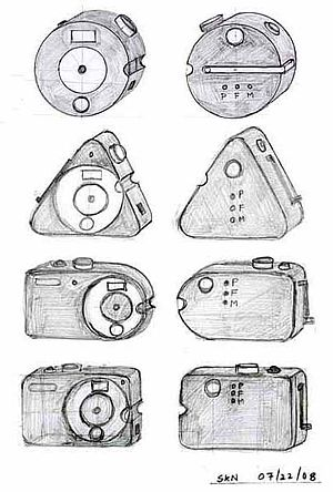 This early sketch of the Bigshot camera by Shr...