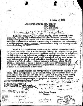 Hebrew Benevolent Congregation Temple bombing - Memo (October 13, 1958) from J. Edgar Hoover concerning FBI input into Dwight D. Eisenhower's pending response to bombing