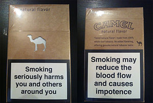 "Camel (cigarette) - Camel Natural Flavor — ""smoking may reduce the blood flow and causes impotence"" (European tobacco package warning)"