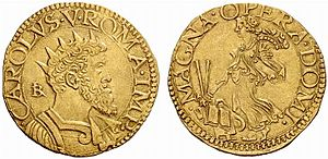 Prince of Belmonte - Coin of the Reign of Charles V, Mint of Naples and Aquila, showing IBR.