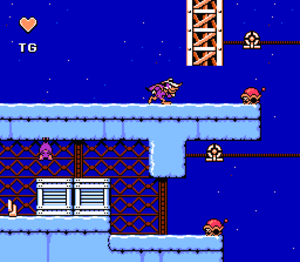 Darkwing Duck (Capcom) - NES gameplay. The heart in the top left hand corner is the player's life reserve. The letters under it represent the current gas powerup.