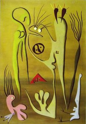 Birmingham Surrealists - Desmond Morris, The Courtship I (1948), Oil on canvas.