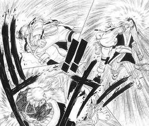 Masashi Kishimoto - The first time Kishimoto used the double action technique in a fight between Naruto and Haku.