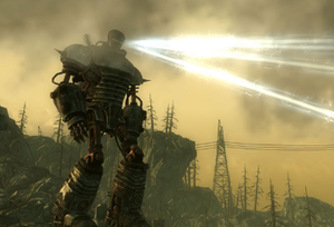 Fallout 3 downloadable content - Liberty Prime, an assault robot built before the war, attacks an enemy base.