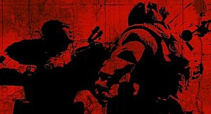 Gears of War 2 - Screenshot from the first Gears of War 2 trailer shown at the Game Developers Conference 2008, depicting Fenix executing a Locust with the chainsaw bayonet