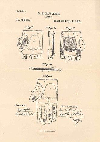 Baseball glove - An 1885 glove patent