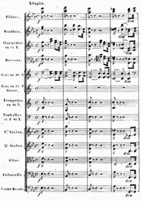 Página de una partitura sinfónica completa