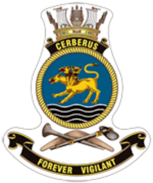 HMAS Cerberus (naval base) - Ship's badge of HMAS Cerberus