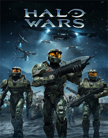 "Three armor-clad soldiers carrying weapons march towards the foreground. Their faces are obscured by helmets with reflective orange visors. Behind the trio are more soldiers; overhead, curved aircraft fly through the sky. The decorative text ""Halo Wars"" floats above the scene."