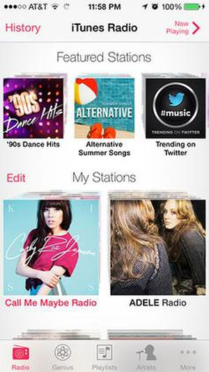 ITunes Radio - Image: I Tunes Radio Screenshot