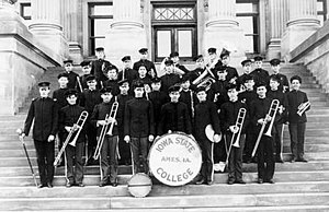 Iowa State University Cyclone Marching Band - The band on the front steps of Iowa State's Beardshear Hall in 1909