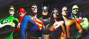 Justice League - The seven original members of the Justice League pictured from left to right: Green Lantern, Flash, Superman, Batman, Wonder Woman, Aquaman, and Martian Manhunter. Art by Alex Ross.