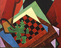 Jean Metzinger, 1915, Soldat jouant aux échecs (Soldier at a Game of Chess), detail chessboard and table.jpg