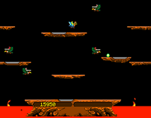 A horizontal rectangular video game screenshot that is a digital representation of a fictional lava world. A small yellow character on a blue ostrich flies around an area populated with floating brown platforms and red and grey knights green buzzards. At the bottom center is a large brown platform protruding from a pit of red lava. Within the platform is a set of yellow numbers. The player navigates the yellow knight (top center) around the game world to defeat the enemy knights. Scores are kept track in the center portion of the bottom platform