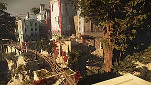 Dishonored 2 - Dishonored 2 takes place in the southern Europe-inspired Karnaca. Its buildings are often flat-roofed, and the game features a vertical element less emphasized in the original Dishonored.