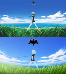 A piece of concept art and a shot from the anime series, both depicting a character from behind, standing in the grass with a sword, looking at a black Rorschach-like pattern in the sky.