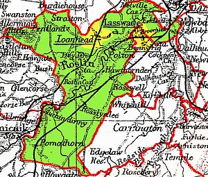 Lasswade - Lasswade parish. The yellow coloured areas were under the jurisdiction of police burghs (Loanhead, Bonnyrigg and Lasswade