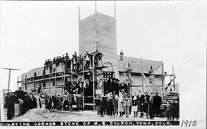 Yuma, Colorado - Postcard: Laying the cornerstone of the Methodist Episcopal Church, 1910