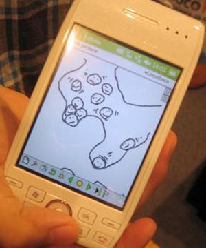 "LocoRoco - Tsutomu Kouno's original sketch for Loco Roco, drawn on a PDA, led to his idea of ""rotating the landscape"" as a key game mechanic."
