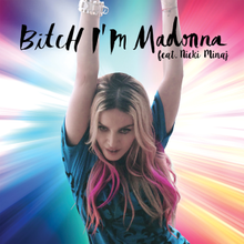 The remixes cover showing Madonna in a blue top and pink highlights in her hair, with both her hands up. She is standing against a colorful haloed background.