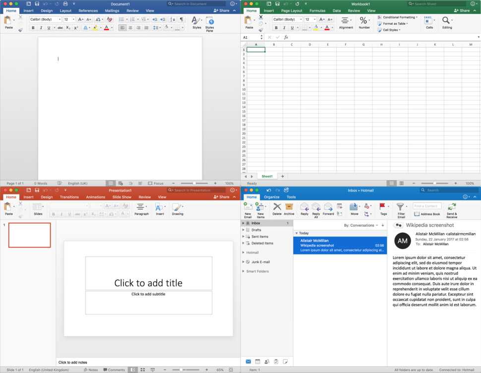 Microsoft Office 2016 for Mac apps from top left to bottom right: Word, Excel, PowerPoint and Outlook