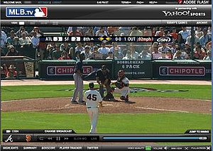 MLB.com - A screenshot of the MLB.tv Premium experience from April 9, 2010