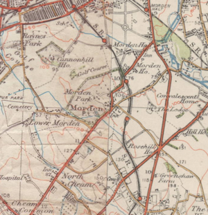 Lower Morden - A map of Lower Morden from the 1920s