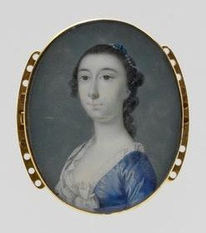 Jeremiah Theus - Mrs. Jacob Motte (Rebecca Brewton), c. 1758, watercolor on ivory, in the Metropolitan Museum of Art