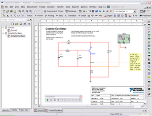 A screenshot of NI Multisim simulating a circuit, with schematic capture and virtual instrument tools visible.