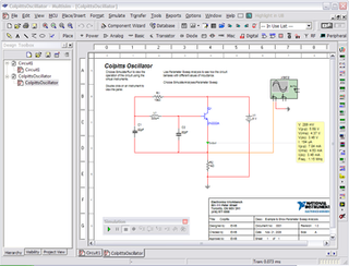 NI Multisim electronic schematic capture and simulation program